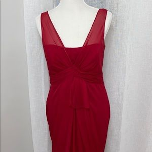 Apple Red V Neck Sleeveless Chiffon Column Dress